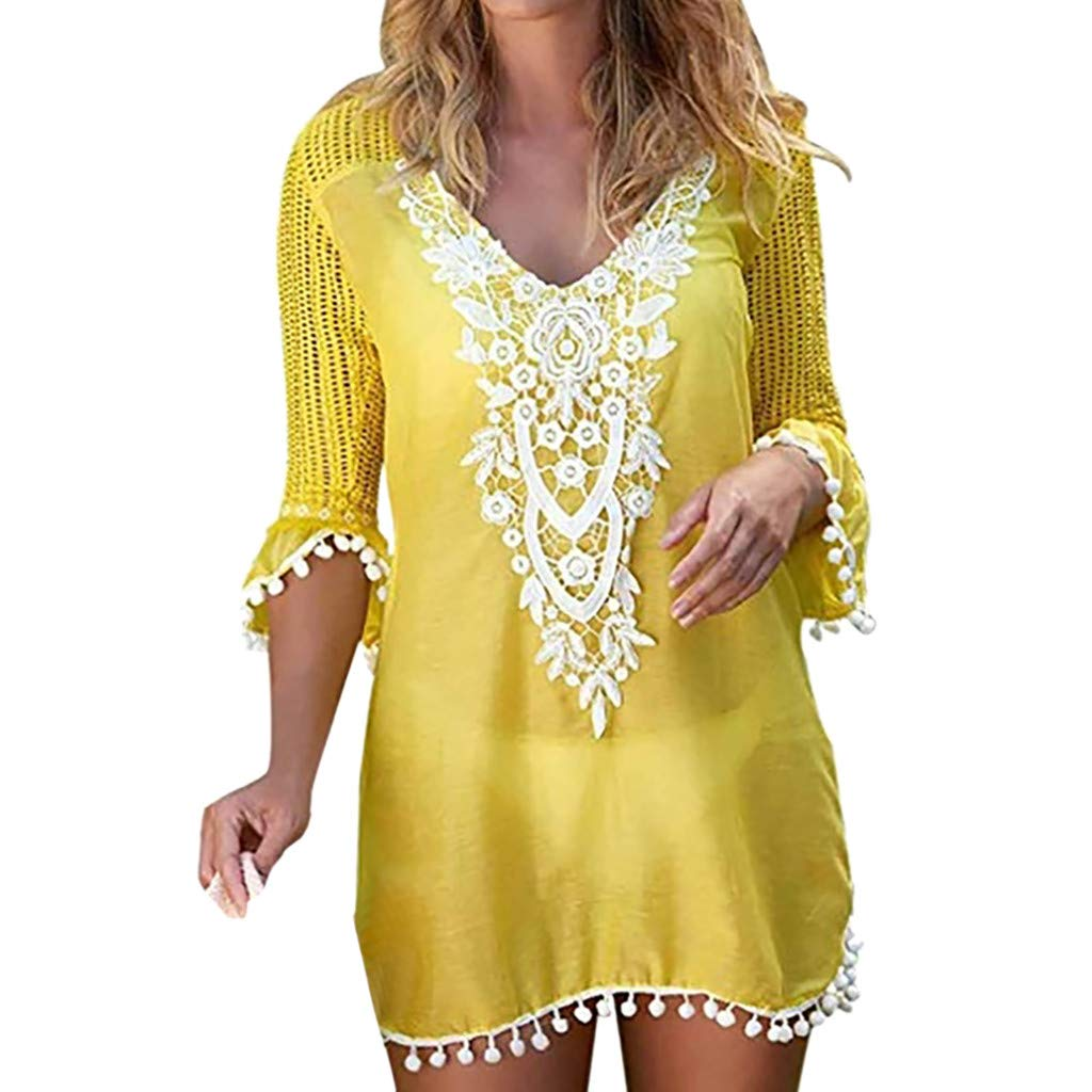 Forthery-Women Crochet Chiffon Tassel Swimsuit Bikini Pom Pom Trim Swimwear Beach Cover Up(Yellow,Small)
