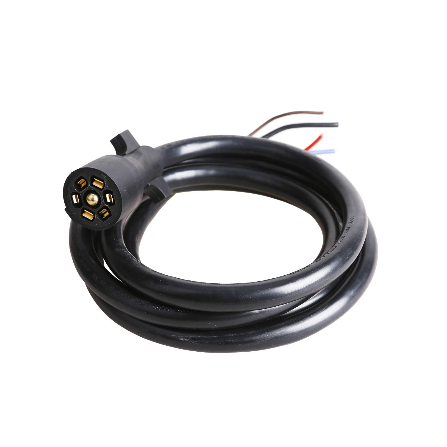 EPICORD Heavy Duty 7 Way Plug Inline Trailer Cord with Double Prongs Connector - 8 Feet, Weatherproof