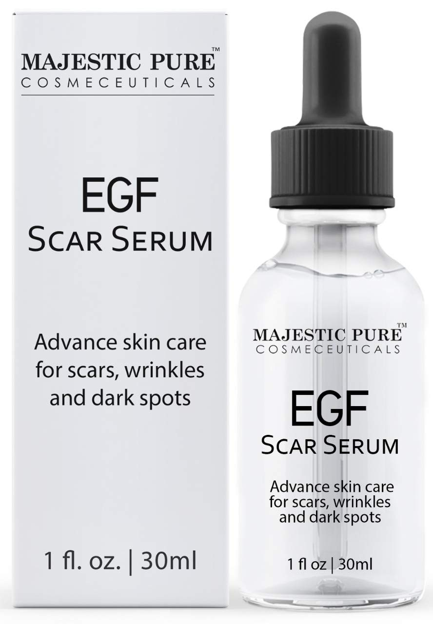Amazon Com Majestic Pure Egf Scar Serum For Face Reduce Appearance Of Acne Scars Marks Wrinkles And Dark Spots Helps With Old Scar Removal 30ml Beauty