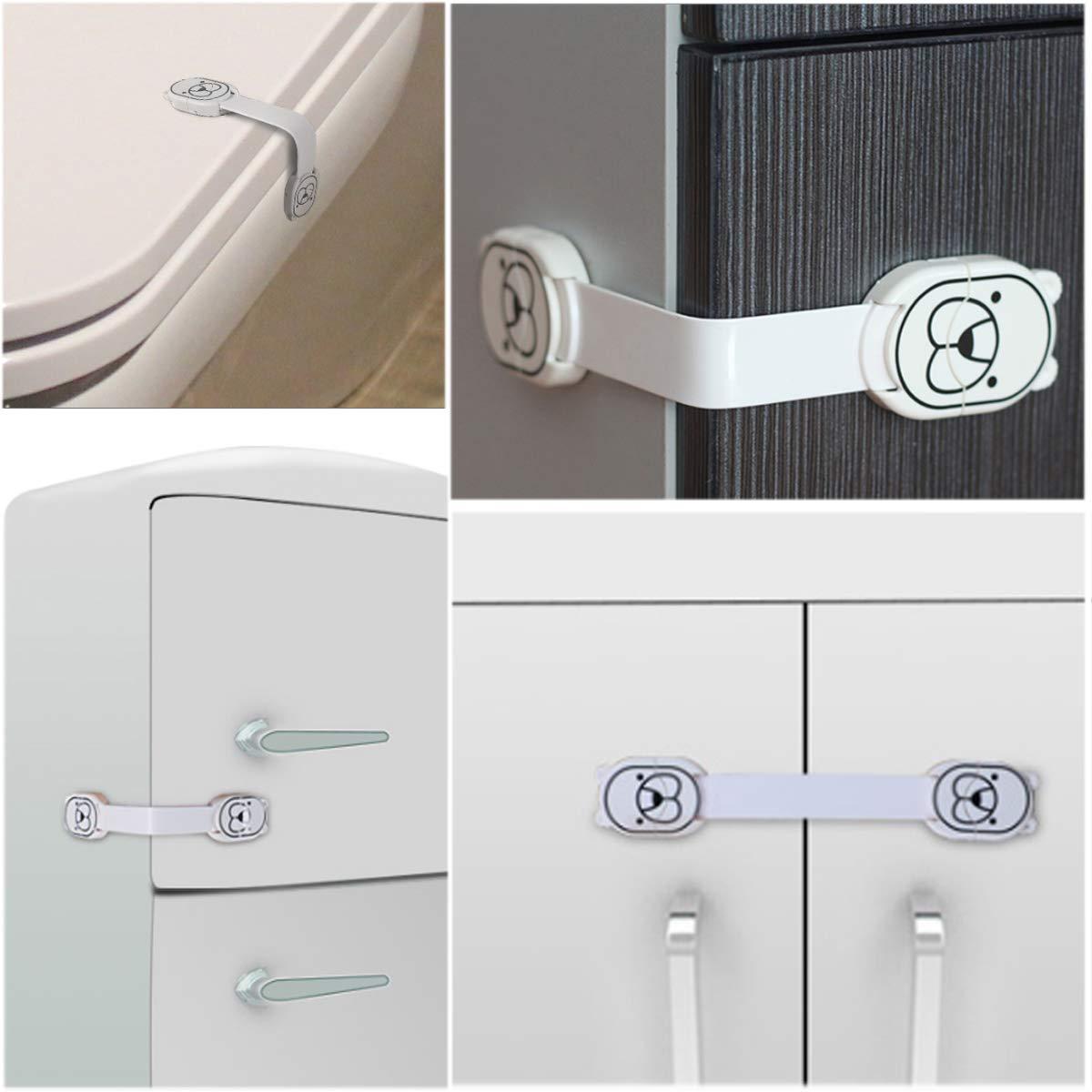 Cierres Seguridad para Ni/ños,2 Pack Reutilizable Cerraduras de Seguridad a Prueba de Ni/ños,Cerraduras para Cajones de Seguridad para Beb/és de Armario para Ni/ños Azul