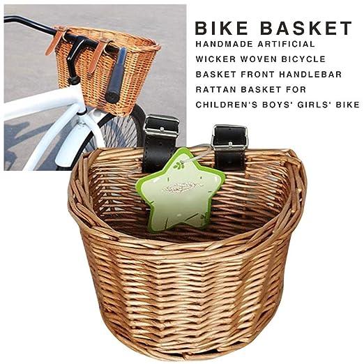Canasta de Bicicleta para ni/ños,Cesto de Bicicleta de Mimbre Canasta de Mimbre Tejida a Mano Canasta Delantera de Bicicleta Manillar Delantero Canasta de Bicicleta Cesta de la Compra de Bicicleta