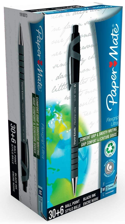 1.0 mm Flexgrip Ultra Retractable Ballpoint Pen Black Paper Mate 2027751 Medium Point Pack of 5