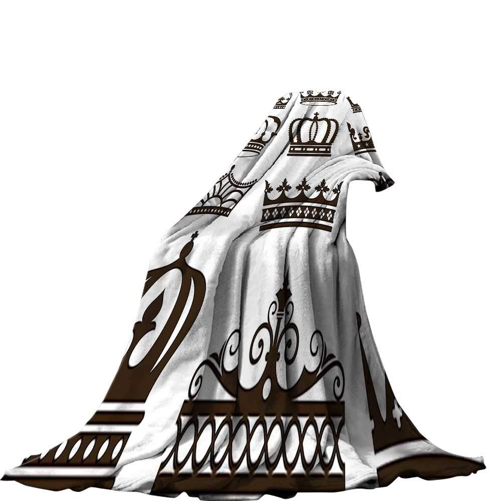 color01 60\ QINYAN-Home Lightweight Blanket (60 x36  Velvet Plush Throw Blanket King Symbol of Royalty Jewel Crowns Tiaras for Reign Queen Prince Princess Cartoon Image Dark Brown.