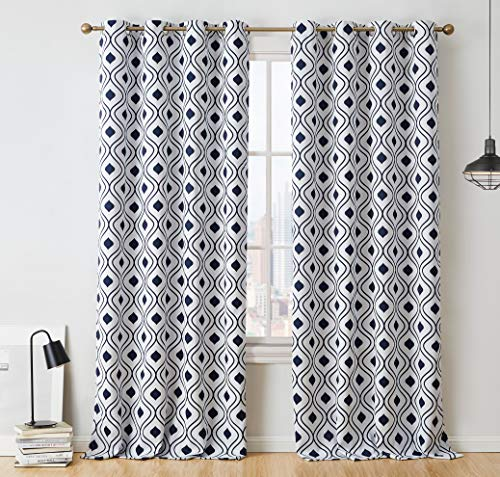 - HLC.ME Ogee Trellis Print Blackout Grommet Curtain Panels for Living Room - 99% Light Blocking - Thermal Insulated Decorative Pair for Privacy - Set of 2 (52