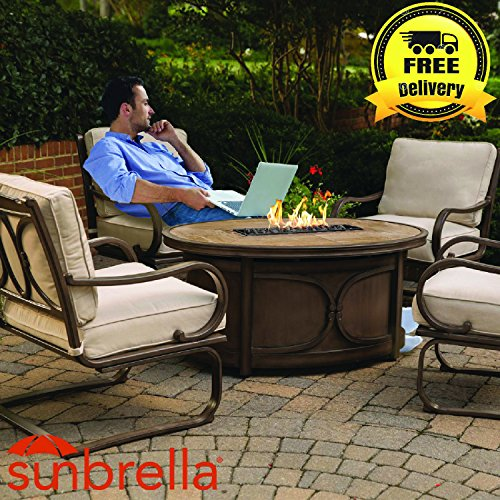 kendall 5pc outdoor firepit set 4 chairs u0026 gas firepit table sunbrella fabric aluminum frame includes amber