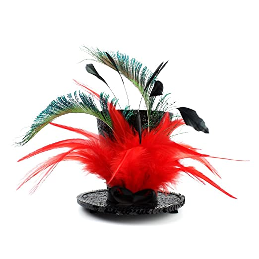 Mini Top Hat Bright Red   Green Feather Fascinator Cocktail (Bright ... a52c94626fec