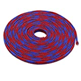 uxcell PET Braided Sleeving 32.8 Feet 10m Expandable Cable Wrap 6mm Diameter Wire Sheath Blue,Red