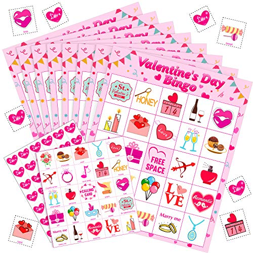 Blulu Valentine's Day Games Bingo Cards for Kids Class Party Supplies Activity, 24 Players (Style 2) ()