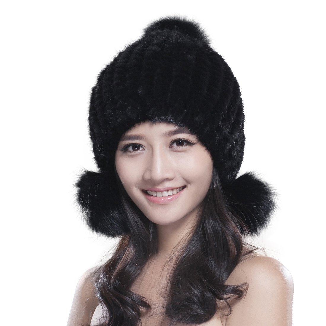 4c6aa7c594149 Amazon.com  URSFUR Women s Knit Mink Fur Hat with Earflaps Pom Poms Black   Clothing