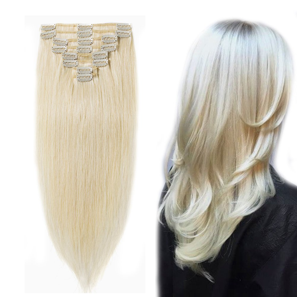 Clip in 100% Remy Human Hair Extensions #60 Platinum Blonde 10''-24'' Grade 7A Quality Full Head 8pcs 18clips Long Soft Silky Straight for Women Fashion 18''/18 inch 100g