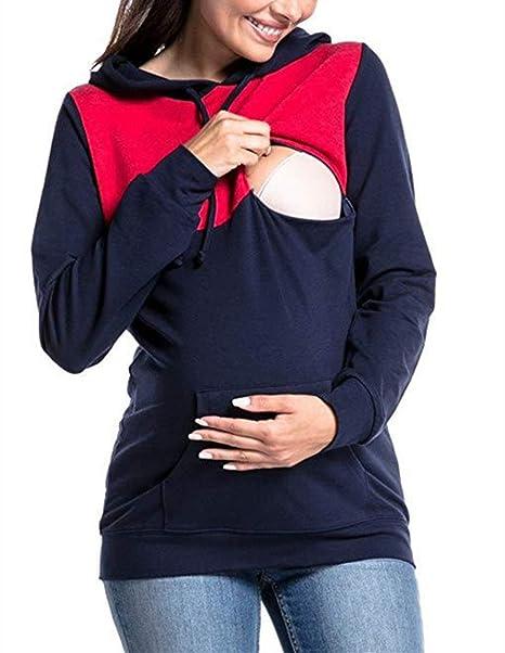 Sudaderas con Capucha para Amamantar Tapas para Embarazadas Retro Blusa para Amamantar Enfermera Sudadera De Manga Larga Remiendo De Mujer Camiseta Superior ...