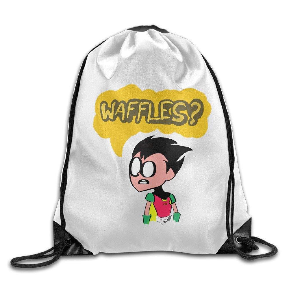 FTKLSS Lightweight Foldable Sac de Cordon Teen Titans Go Robin Waffles Drawstring Backpack String Backpacks