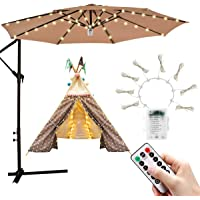 iYeHo Patio Umbrella Light String Lights 8 Brightness Modes 104 LEDs at 3AA Battery Operated Waterproof Outdoor Umbrella Pole Light for Patio Umbrellas Camping Tents