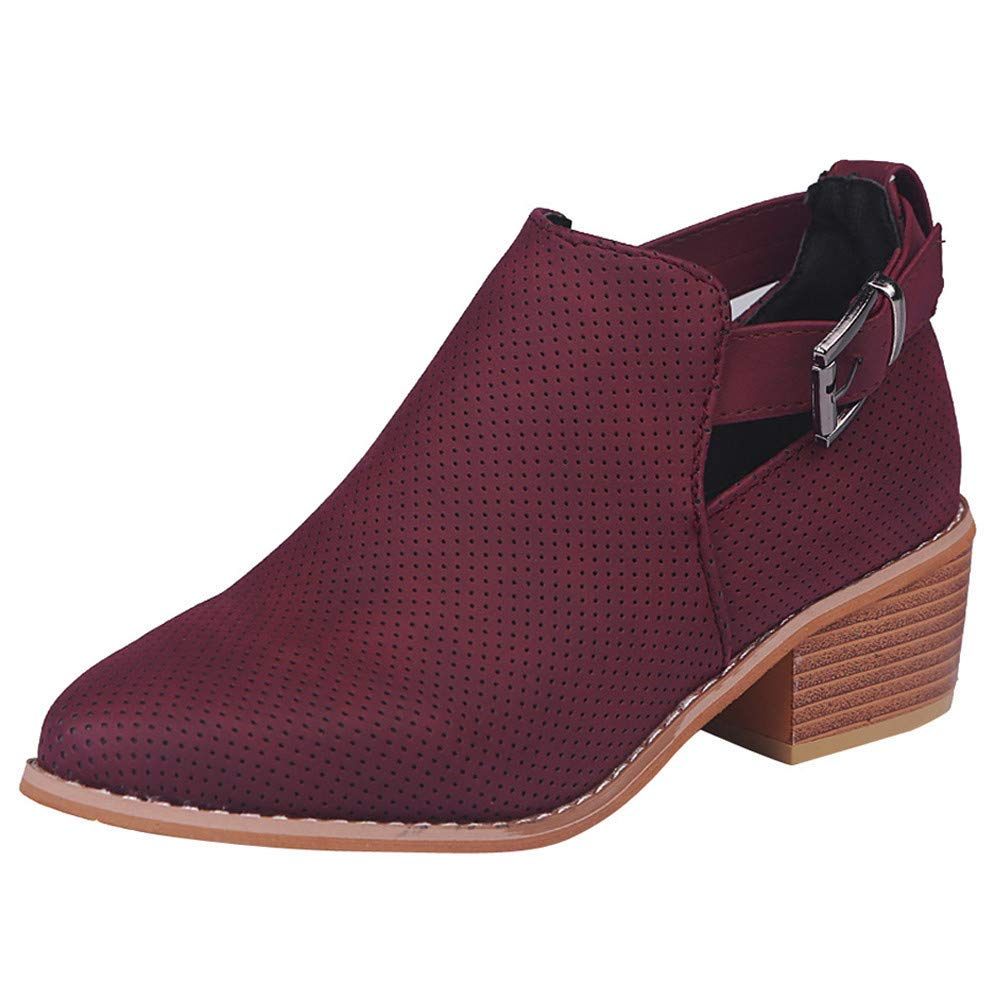BaZhaHei Women Pointed Toe Wedges Shoes Vintage Hollow Booties Buckle Strap Square Heel Single Shoes Sexy Short Boots Fashoin Party Footwear Size 2.5-8