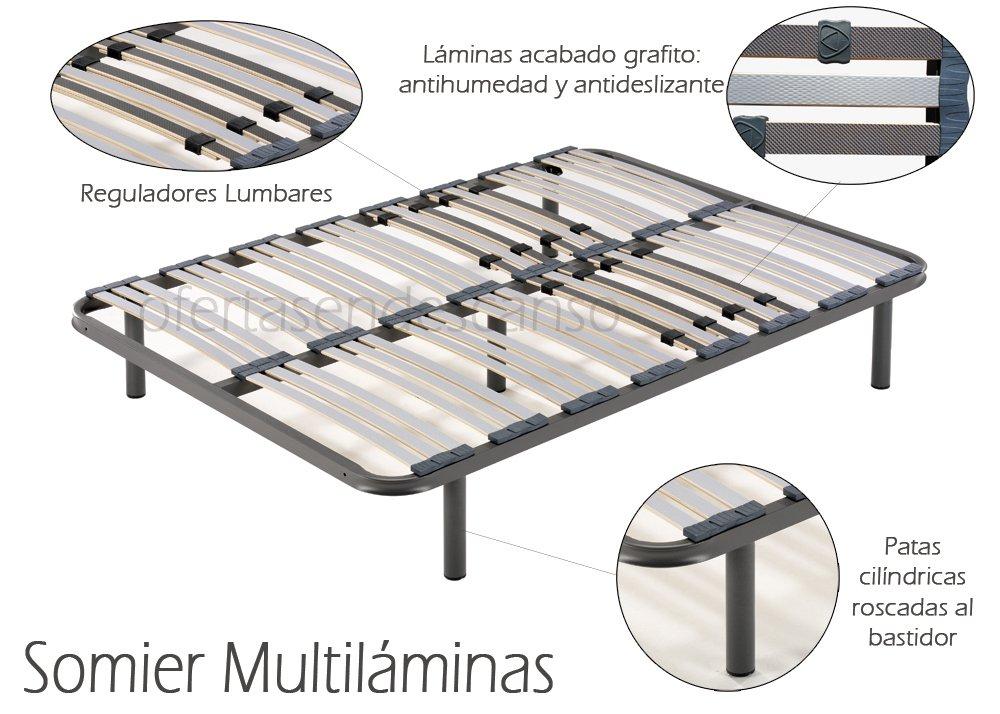 HOGAR24 Somier multiláminas con reguladores lumbares- (180x200cm-PATAS 26CM): Amazon.es: Hogar