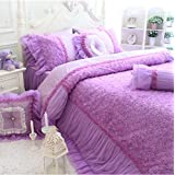 FADFAY Home Textile,Korean Bedding Set,Romantic Purple Lavender Bedding Set,Luxury Wedding Bedding Set,4Pcs