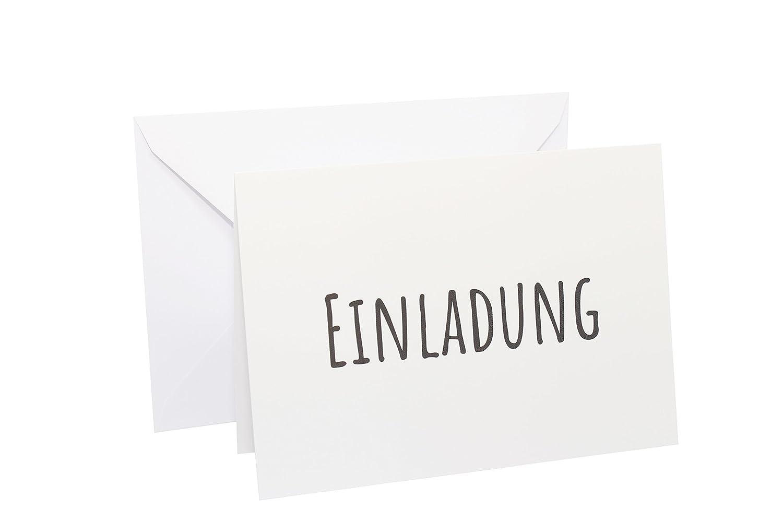 Elegant 10x Einladungskarten Klappkarten Im Postkartenformat DIN A6 Mit 10x Weißen  Umschlägen Im Set Einladung Für Hochzeit