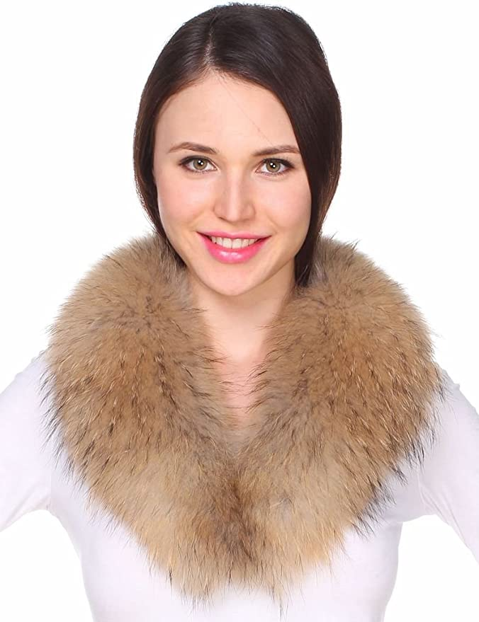 Ferand Womens Detachable Genuine Raccoon Fur Collar Scarf for Gilet Parka Jacket Coat in Natural Color at Amazon Womens Clothing store:
