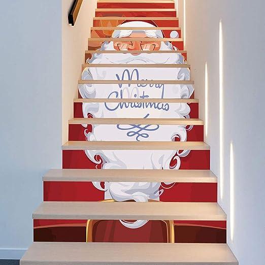 Etiquetas engomadas de la escalera, 13 piezas Vestido de Navidad Escaleras Etiqueta larga Barba Papá Noel Escaleras Etiqueta de la pared decorativa Art Deco Murales Pared de tela 18 * 100cm Dormitorio: