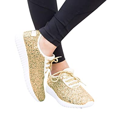 34911a0478a4d Amazon.com: 2019 New Women's Outdoor Shiny Sequined Sneakers Cloth ...