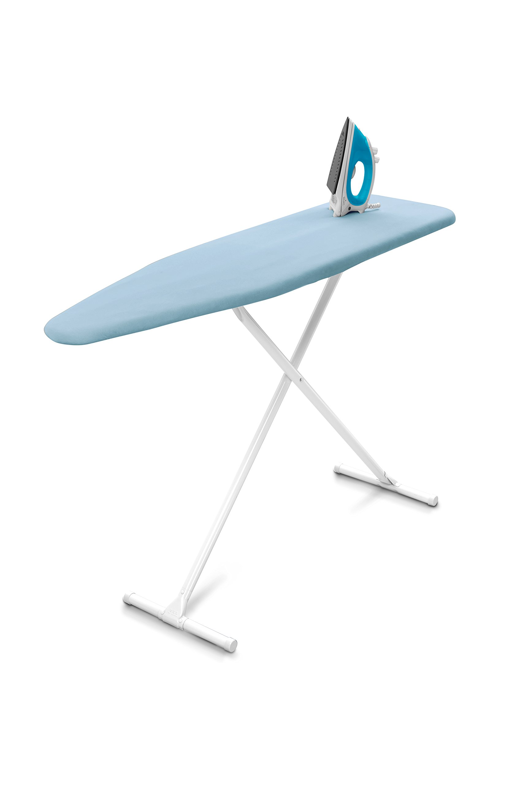 Homz T-Leg Steel Top Ironing Board with Foam Pad, Sky Blue Cover by Homz