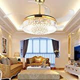 TiptonLight Ceiling Fans with Lights 42 Inch Modern LED Crystal Ceiling Fan and Light with Remote Control,Retractable Blades Fan for Living Room Bedroom Restaurant Three Color Changing Fan Chandelier