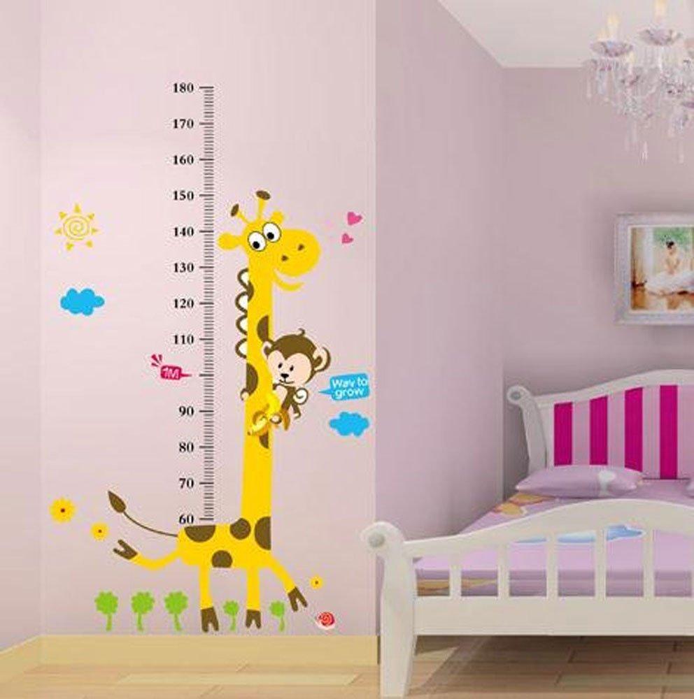 Naughty Monkey And Yellow Giraffe Wall Sticker For Kids Bedroom Cartoon Animals Height Chart 60cm 180cm Nursery Decal Decor Removable Wallpaper