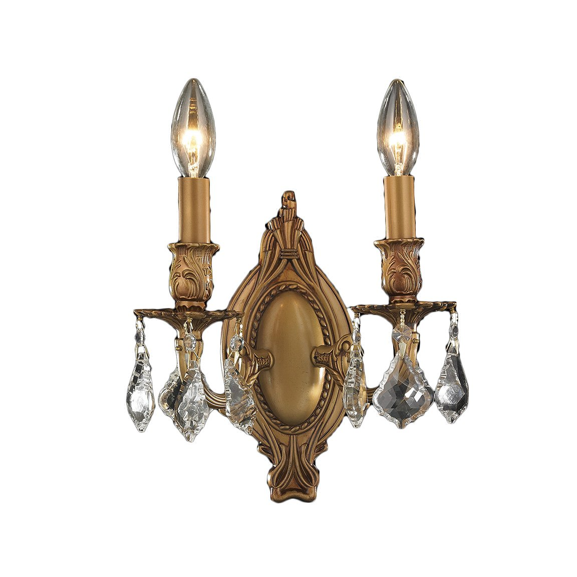 Worldwide Lighting Windsor Collection 2 Light French Gold Finish Crystal Candle Wall Sconce 9'' W x 10.5'' H Medium