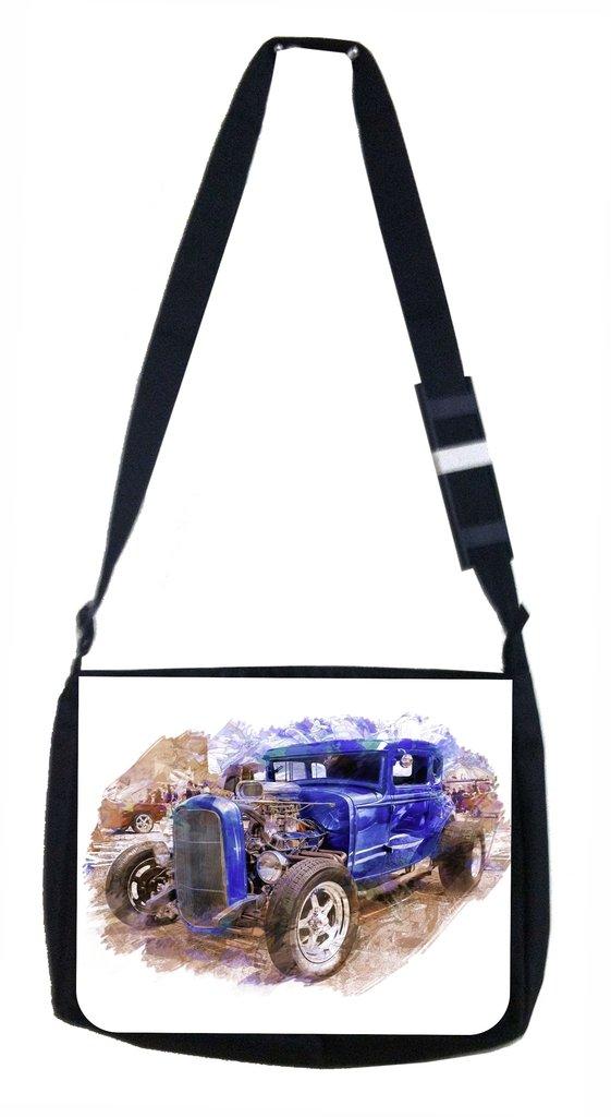Vintage Style Hot Rod Car Lea Elliot TM School Messenger Bag and Pencil Case SET
