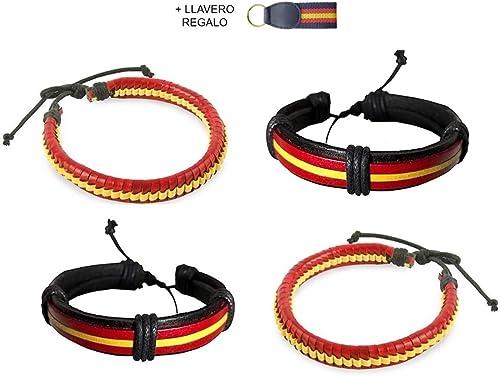 Buroxo Pack 4 Pulseras Bandera España diseño Elegante + Regalo ...