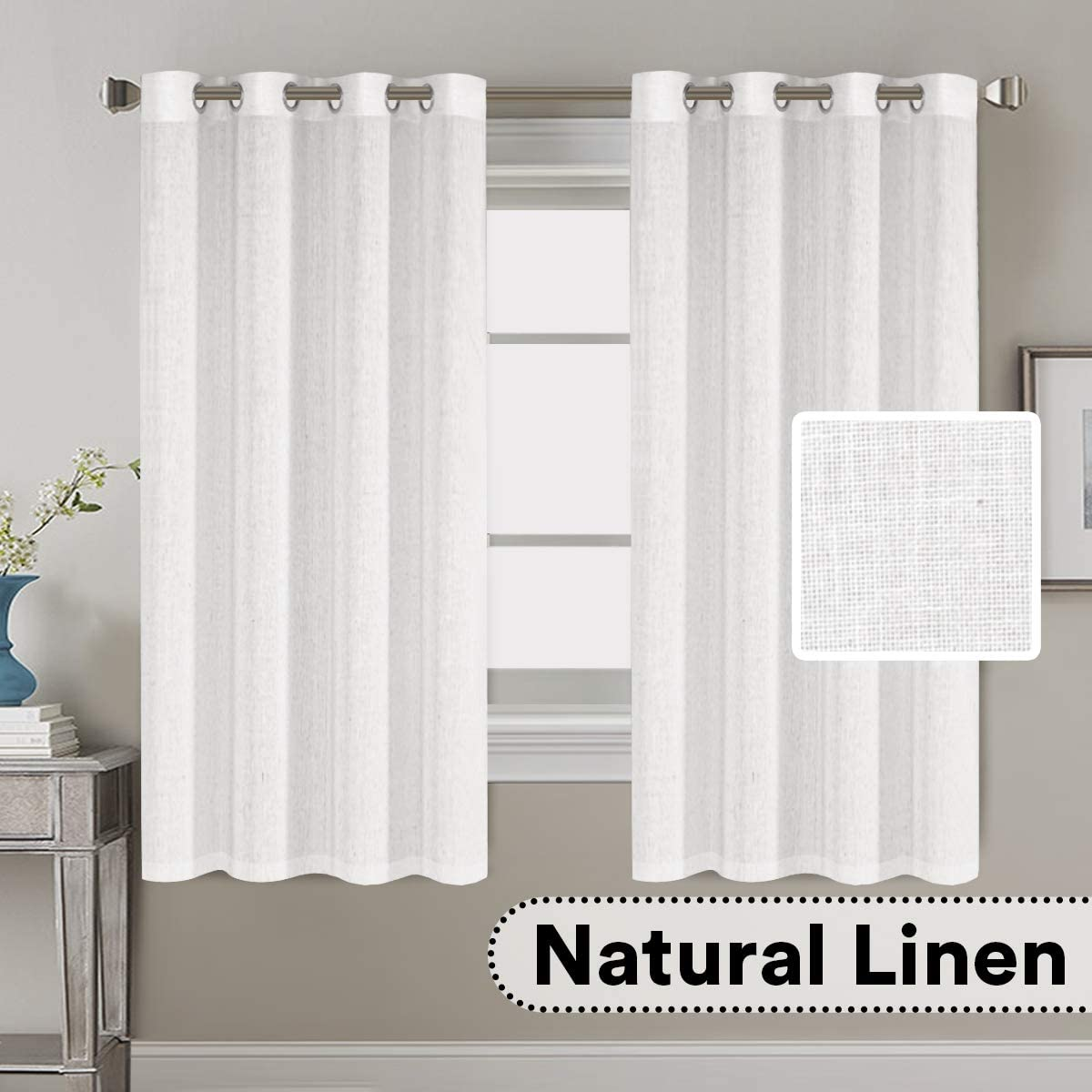 H.VERSAILTEX Living Room Linen Curtains Home Decorative Nickel Grommet Curtains Privacy Added Energy Saving Light Filtering Window Treatments Draperies for Bedroom, White, 2 Panels, 52 x 63 - Inch