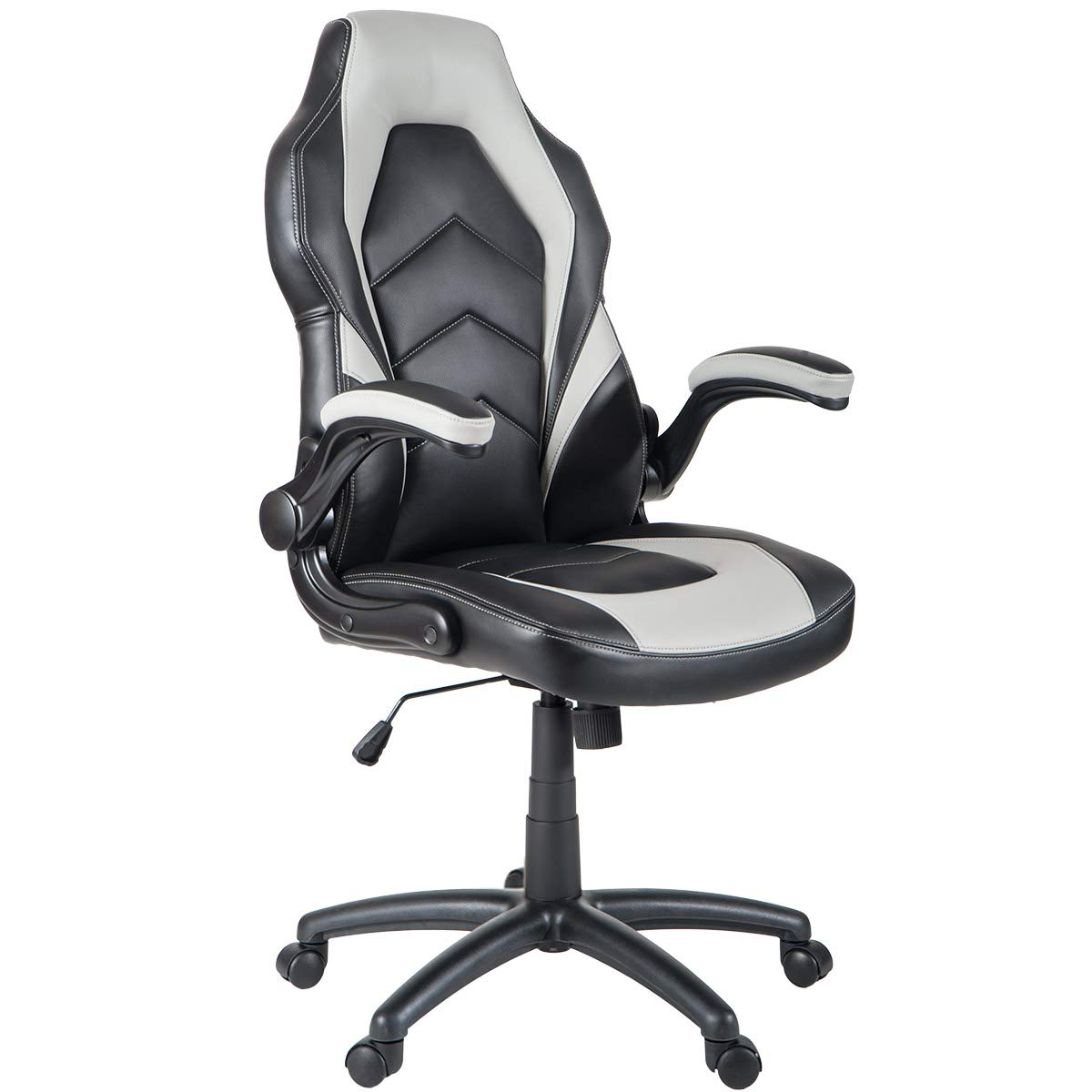 ModernLuxe Ergonomic Swivel Office chair High Back Racing Style PU Leather Gaming Chair with Flipped Armrests (Black and Grey)