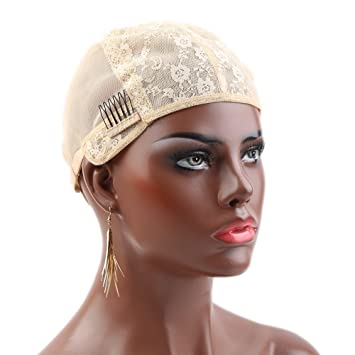 dc492bf4be9 Bella Hair Doule Lace Wig Cap for Making Wigs with Adjustable Straps and  Combs Beige Large Size