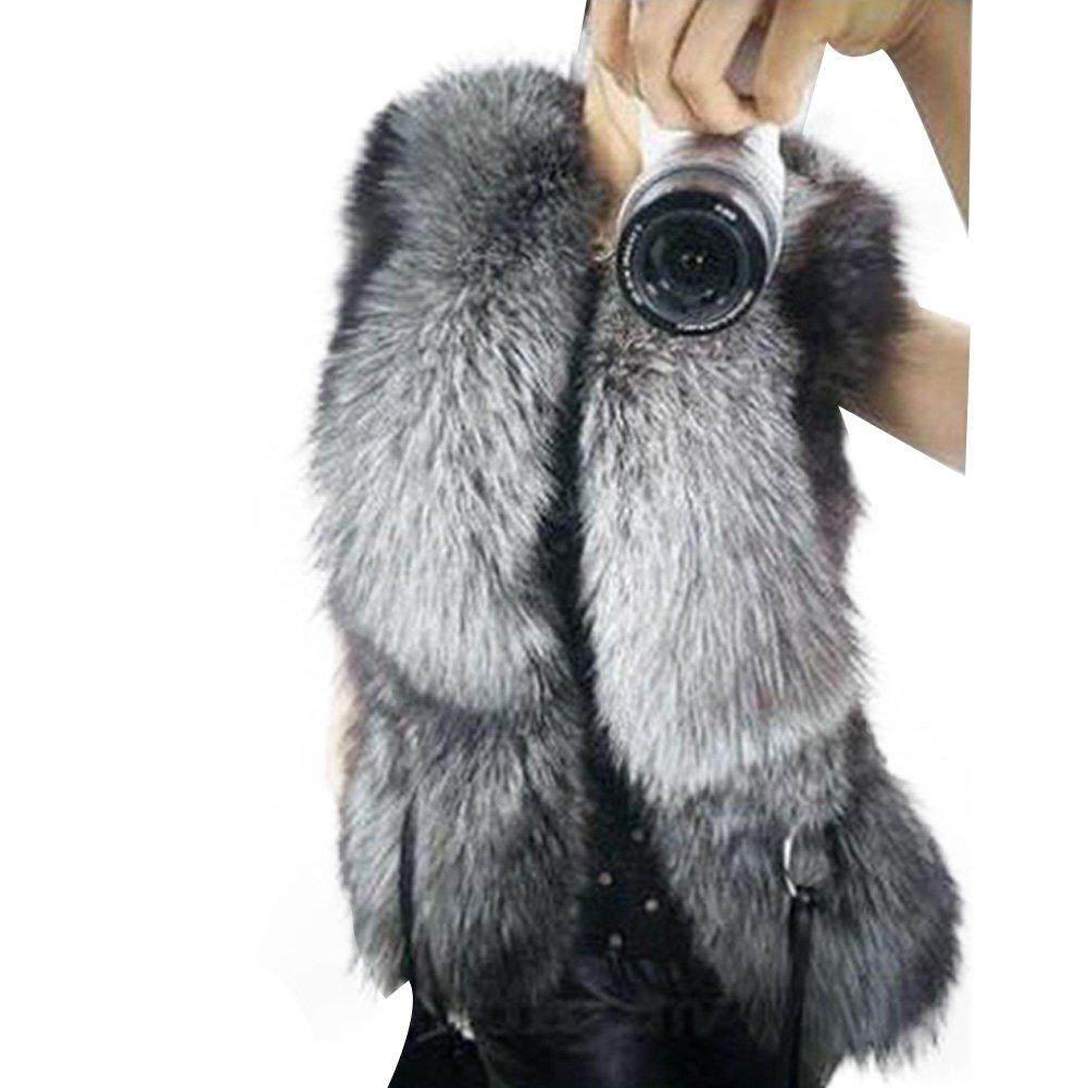 Tidecc Womens Winter Faux Fur Leather Vest Jacket Sleeveless Warm Coat Waistcoat Gilet Outwear