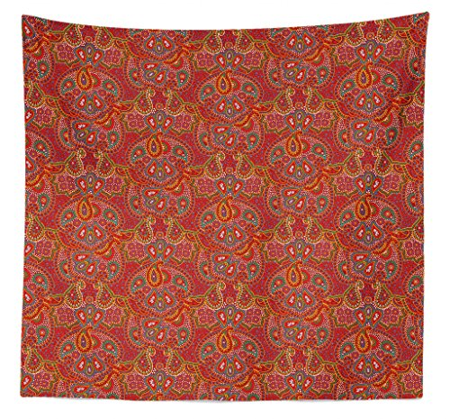 Lunarable Paisley Tapestry Queen Size, Vibrant Colored Pattern Various Oriental Design Elements Boho Influence, Wall Hanging Bedspread Bed Cover Wall Decor, 88 W X 88 L Inches, Ruby Multicolor
