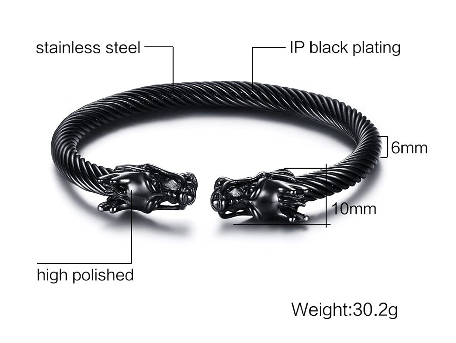 Amazon.com: Mens Stainless Steel Opposite Dragon Head Twisted Wire ...