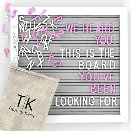 Gray Felt Letter Board with White Frame by Titan & Kaizer - 10x10 Inch Changeable Letter Board with White Letters & Characters and Pink Letters & Characters - Shapes For Frames Face