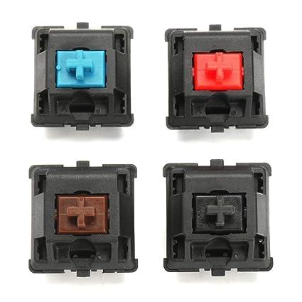 Yongse 4Pcs a Set 3 Pin Brown Red Blue Black Switch para Teclado de Juego mecánico