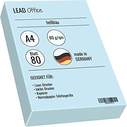 matt 80g//qm Druckerpapier farbig Bastelpapier A4 hellblau Kopierpapier