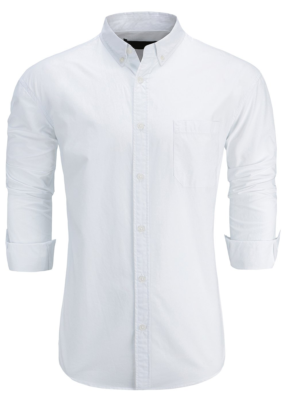 KateSui Men's 100% Cotton Slim Fit Long Sleeve Button-Down Oxford Dress Shirt Medium White