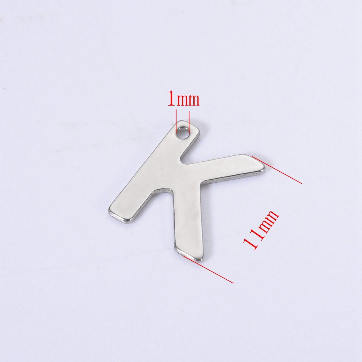 30PCS Stainless Steel Smooth Letter AlphabetA Charm Pendant for Jewelry Making Findings 11mmx10mm