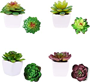 N - A Artificial Succulent Plants Potted - 4 PCS Mini Artificial Plants Indoor in Pots Realistic Assorted Decorative Faux for Office Bathroom Home House Decor
