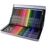 Adaskala Conjunto profissional de 72 lápis de cor pré-apontados solúveis em água com caixa de armazenamento de escova proteto