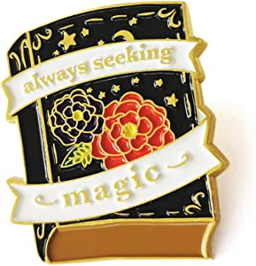 Cute Seek Magic Book Enamel Lapel Pin Badge - Charm Book Pin Gifts for Women Girls Best Friends- Perfect Decor for Jackets Hats Bags