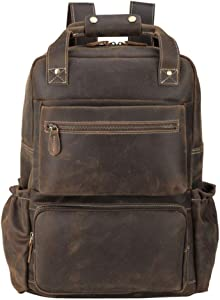 Tiding Men's Leather Backpack 15.6 inch Laptop Backpack Large Capacity Business Travel Office Daypacks with YKK Zipper