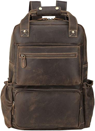 Tiding Men s Leather Backpack 15.6 inch Laptop Backpack Large Capacity Business Travel Office Daypacks with YKK Zipper