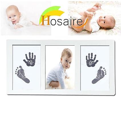 Hosaire Three grid Kit de marco de foto de mano y huella de bebé recién nacido marco kit de recuerdos para niños, niñas y bebés, Babyprints Paper ...