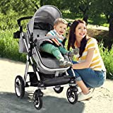 Babyjoy Baby Stroller, Aluminum 2-in-1 Foldable Toddler Stroller, Convertible Bassinet Reclining Stroller Carriage with Cup Holder & Foot Cover & Diaper Bag (Gray)