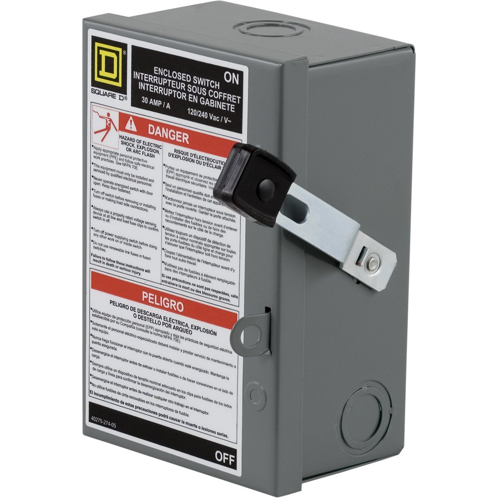 Square D by Schneider Electric L221N 30-Amp 240-volt Two-Pole Indoor Light Duty Safety Switch with Neutral