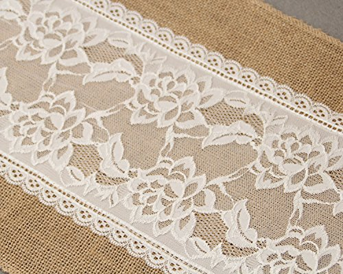 Jute Burlap Lace Hessian Table Runner 12 x 108 inches Vintag